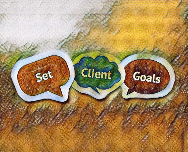 Three speech bubbles on a coloured background that read 'set client goals'