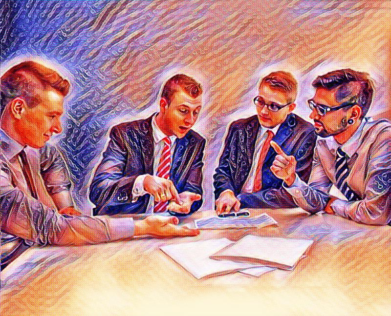 Group of businessmen at a desk communicating poorly, who could benefit from improving their communication