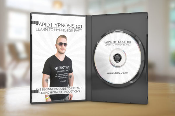 Rory Z Fulcher's Rapid Hypnosis 101 DVD standing open on a table