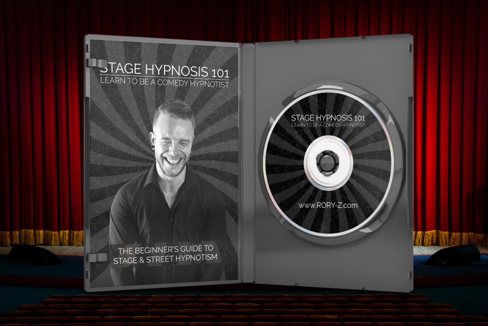 Rory Z Fulcher's Stage Hypnosis 101 DVD standing open on a table