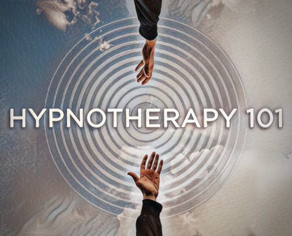 A cloudy scene with a spiral background, and two hands reaching to each other with the words 'Hypnotherapy 101' inbetween
