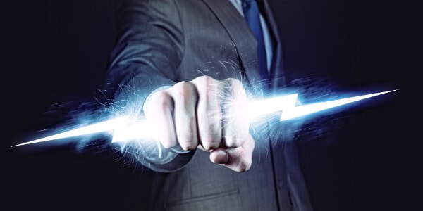 Man holding lightning bolt, which represents the power of the imagination in hypnosis