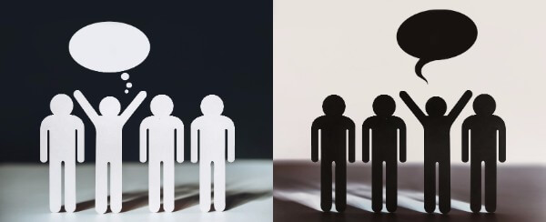 cartoon silhouettes in black and white, to demonstrate the cognitive distortion, black and white thinking