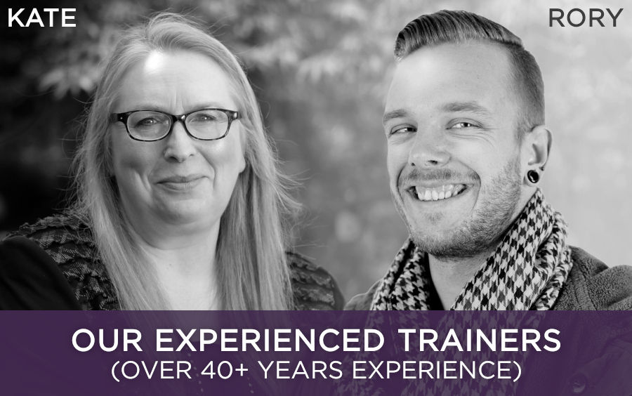 A picture of Dr Kate Beaven-Marks and Rory Z Fulcher, hypnotherapy trainers with 40+ years of experience