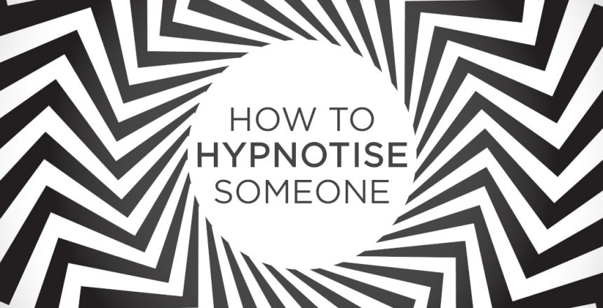 Trippy spiral optical illusion in black and white, with the words 'how to hypnotise someone' in the middle.