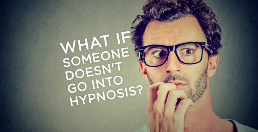 Man looking worried, biting nails, thinking with speech bubble, what if someone doesn't go into hypnosis?