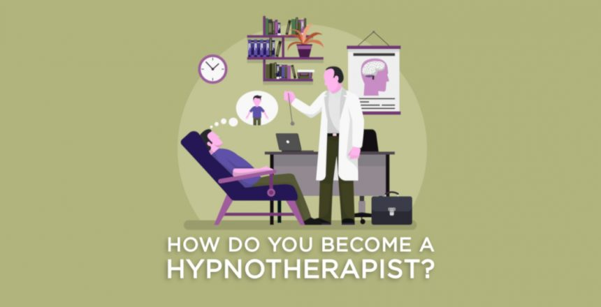 A therapy room the therapist hypnotising a man with a pocket watch. Below are the words 'how do you become a hypnotherapist?'