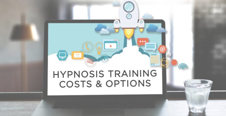 Computer screen with various different online training and video symbols, with a cartoon rocket tacking off out of the screen. Text reads hypnosis training costs & options.